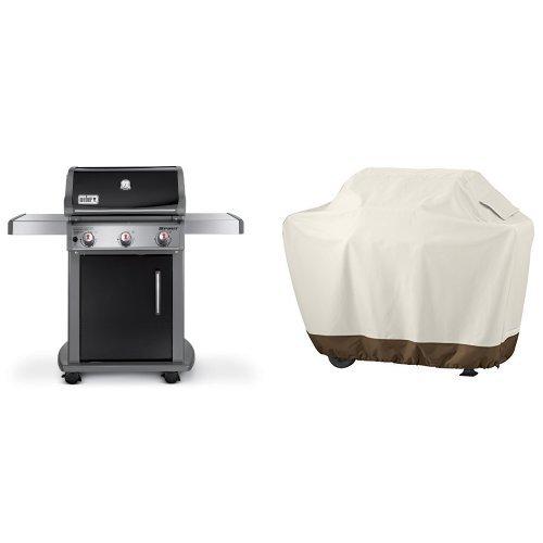 Weber 46510001 Spirit E310 Liquid Propane Gas Grill, Black & AmazonBasics Grill Cover - Medium