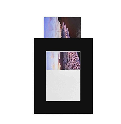 golden-state-art-pack-of-25-black-8x10-slip-in-pre-adhesive-photo-mat-for-5x7-picture-with-backing-b