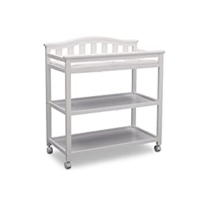 Delta Children Bell Top Changing Table with Wheels and Changing Pad, White