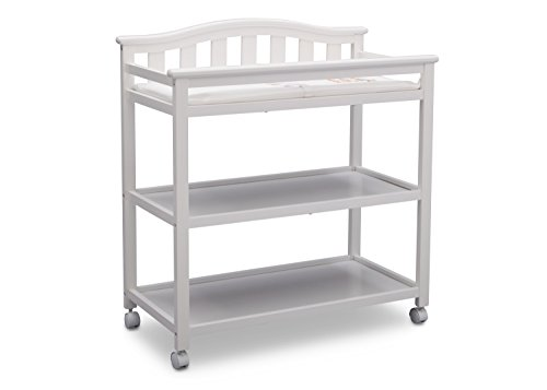 (Delta Children Bell Top Changing Table with Casters, White)