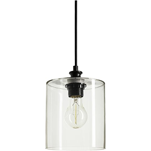Sunlite AQF/CG/PD/CYL Cylinder Glass Collection Pendant Vintage Antique Style Fixture, Clear Glass (Sunlites Collection)