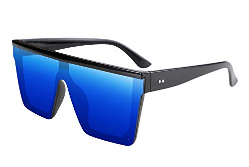 (FEISEDY Fashion Oversize Siamese Lens Sunglasses Women Men Succinct Style UV400 B2470)