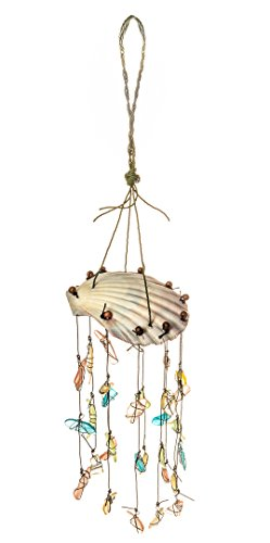 Nautical Crush Trading Scallop Top w/Assorted Sea Glass Drop Wind Chime | Hanging Shell Wind Chime | Beach Wind Chime for Decoration