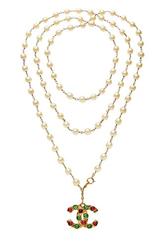 CHANEL Faux Pearl & Gripoix 'CC' Necklace (Pre-Owned)
