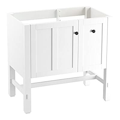 "KOHLER K-5288-1WA Tresham vanity, 36"", Linen White - Finishes resists moisture, scratches and stains One door and two drawers Three-way adjustable slow-close door hinges with 100-degree opening capability for easy cabinet access - bathroom-vanities, bathroom-fixtures-hardware, bathroom - 31PBNlhJ9LL. SS400  -"