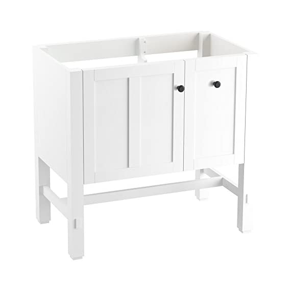 "KOHLER K-5288-1WA Tresham vanity, 36"", Linen White - Finishes resists moisture, scratches and stains One door and two drawers Three-way adjustable slow-close door hinges with 100-degree opening capability for easy cabinet access - bathroom-vanities, bathroom-fixtures-hardware, bathroom - 31PBNlhJ9LL. SS570  -"