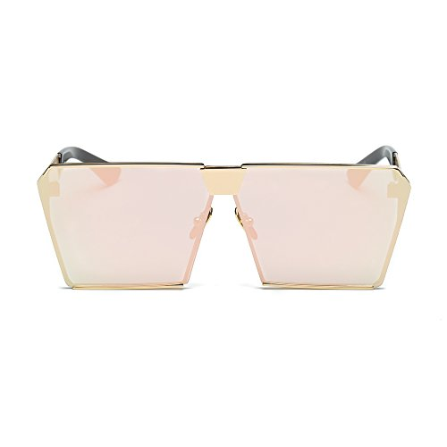 JOJO'S SECRET Oversized Square Sunglasses Metal Frame Flat Top Sunglasses JS009 (Gold/Brown+Gold/Cherry Powder, 2.48)