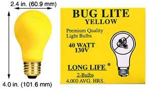 (Incandescent Light Bulbs 40A99Y 130V BUG Yellow (Case of 15))
