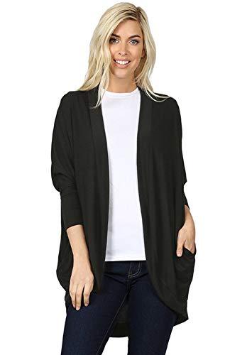12 Ami 3/4 Sleeve Jersey Knit Cocoon Wrap Pocket Long Cardigan Black M