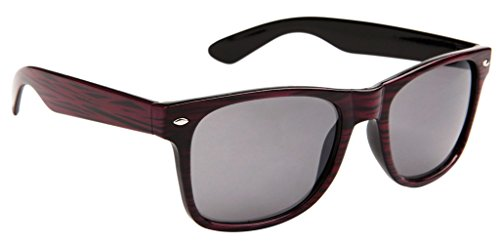 Classic Wayfarer Sunglasses for Men & Women Faux Woodgrain, Smoke Lens (Bordeaux Woodgrain) - - Wayfarer Sunglasses Review
