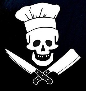 Chef With Skull Decal Vinyl Sticker|Cars Trucks Vans Walls Laptop| WHITE |5.5 x 5 in|CCI797