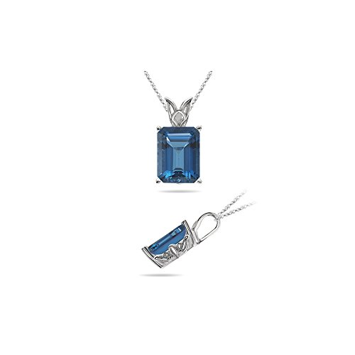 0.89 Cts of 7x5 mm AAA Emerald Cut London Blue Topaz Scroll Solitaire Pendant in 18K White Gold
