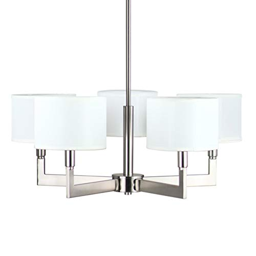 (Allegro 5 Light Pendant Chandelier – Brushed Nickel w/Fabric Shade - Linea di Liara LL-C135-BN)