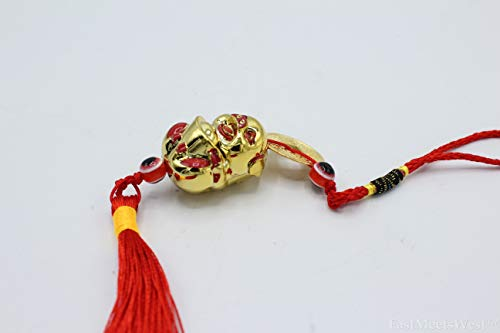 LuckyGifts Chinese Feng Shui Protection Boar   Pig Zodiac Year of Boar   Pig Wealth Bringer Pig Emperor Coin Tassel Hanging ()