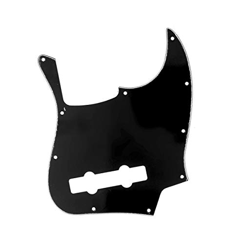 Musiclily Pro 10-Hole Contemporary J Bass Pickguard for Fender Jazz Bass Mexican 5-String, 3Ply Black