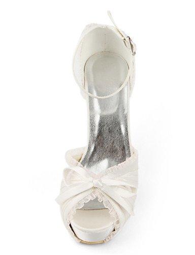 amp; Tal¨®n Zapatos Zq Aguja 3 Textiles Peep Mujeres Home La Tac¨®n 4in Toe noche vestido Las Seda Boda 4in fiesta 4 De white zapatos Blanco XxfAaqA8