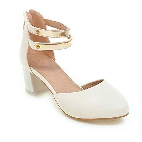 ZHZNVX Zapatos de Mujer PU (Poliuretano) Spring Comfort Heels Chunky Heel Blanco/Negro / Rosa Black