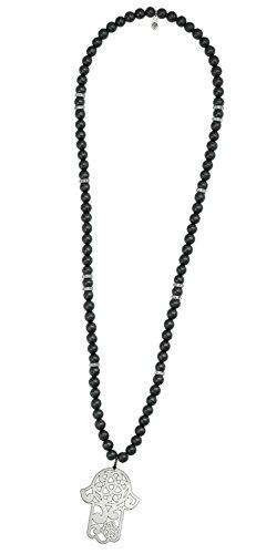 Pearl & Spirit - 14Prv-Col02-Collier Femme-Main de Fatma-Argent 925/1000-Agate-T 110 Cm
