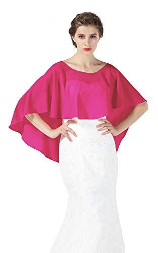 (Bridal Capelet Chiffon Cape Shawls High-Low Short Tops For Women Wedding Dresses Rose)