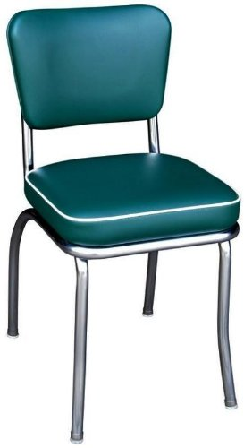 Richardson Seating Retro Chrome Kitchen Chair with 2'' Box Seat, Green by Richardson Seating