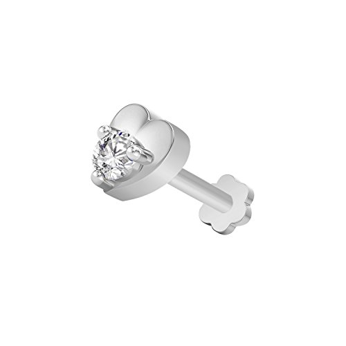 (OMEGA JEWELLERY 14K Gold Plated Sterling Silver Round Cut Sim. Diamond Solitaire Heart Shape Nose Pin (white-gold-plated-silver) )