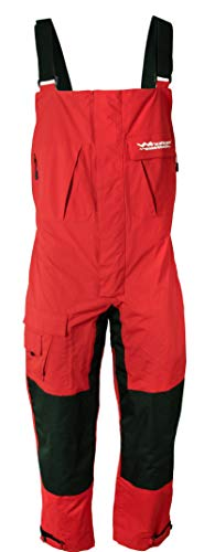 WindRider Pro Foul Weather Gear - Fishing Bibs/Sailing Bibs - 6 Pockets w/Hand Warming Chest Pockets - Waterproof, Windproof & Breathable - Reinforced Seat, Knees - High Chest (Large, Red)
