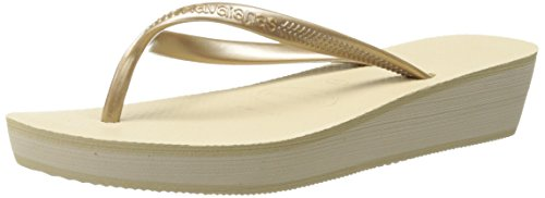 Havaianas Women's High Light Flip Flop Sandal,Sand Grey, 41/42 BR(11-12 M US Women's / 9-10 M US - Embossed Havaianas Sandals