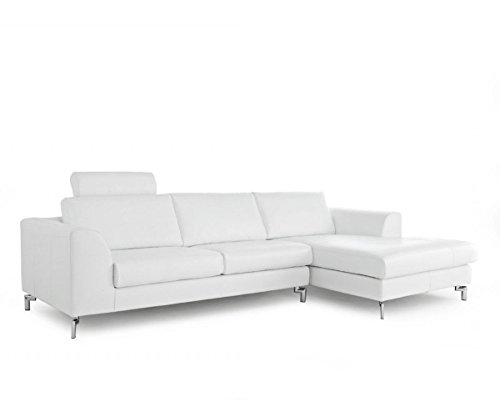 Whiteline Modern Living Angela Sectional w/ Right Facing Chaise – White