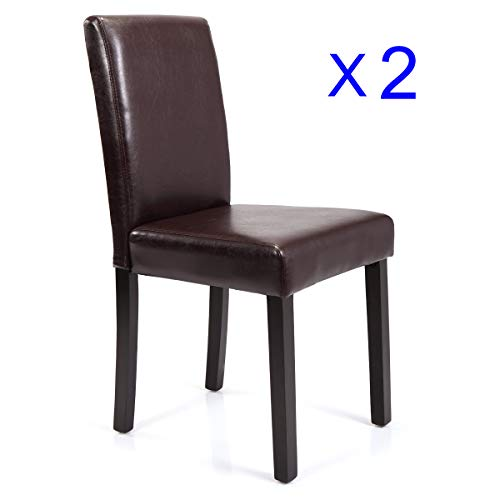 JAXPETY Set of 2 Urban Style Leather Dining Chairs With Solid Wood Legs Chair Brown