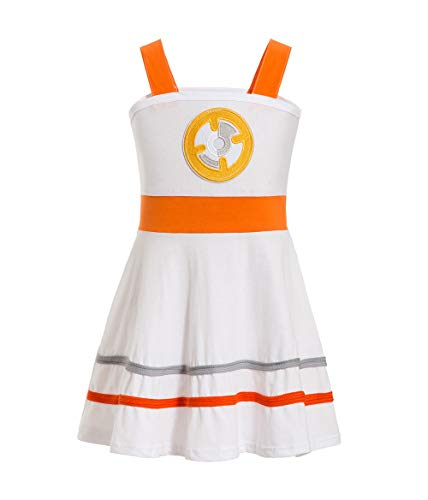 BB8 Dress Disney Inspired Star War Dress BB-8 Peasant Style BB8 Costume Twirl Dress Coplay Comic Con Dress-up (Orange, -