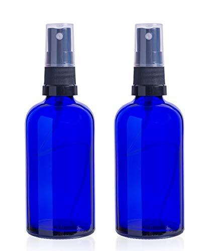 2 x vacía 100 ml azul cobalto botellas de vidrio con 3 x negro pulverizadores de niebla fina: Amazon.es: Salud y cuidado personal