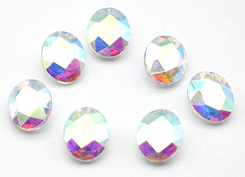 Catotrem Oval Rhinestone Glass Faceted Round Diamond Silver Pointback Beads for Charm Jewelry 8X10mm 60pcs(AB)