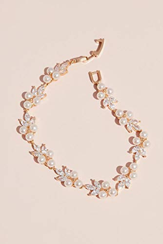 (David's Bridal Pearl Trio Cluster and Marquise Crystal Bracelet Style 72391GM, Champagne)