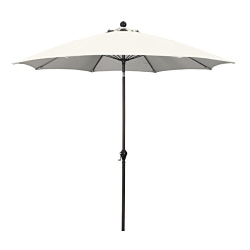(California Umbrella 9' Round Aluminum Pole Fiberglass Rib Umbrella, Crank Open, Push Button 3-Way Tilt, Bronze Pole, Natural)