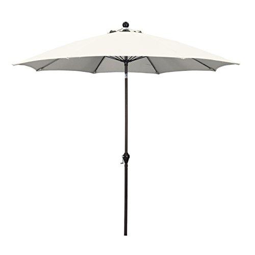 California Umbrella 9' Round Aluminum Pole Fiberglass Rib Umbrella, Crank Open, Push Button 3-Way Tilt, Bronze Pole, (Half Round Canopy)