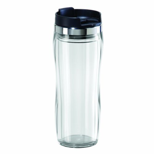 Oggi 8065.0 Fusion Double Walled Acrylic Travel Mug with Removable Tea Infuser, Clear