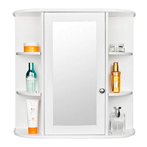 (Acazon Bathroom Wall Mounted Cabinet 3-Tier Single Door Indoor Kitchen Medicine Cabinet Shelves Organizer with Mirror (US Stock) (White))