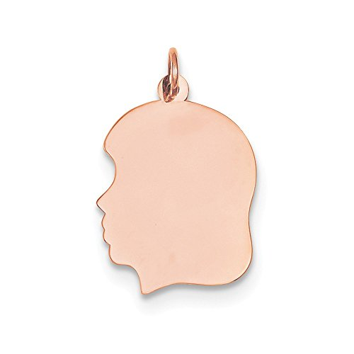 Gauge Engraveable Girl Charm - 14k Rose Gold Medium .011 Gauge Facing Left Engraveable Girl Head Cha Necklace Pendant Charm Engravable Disc Boy Fine Jewelry Gifts For Women For Her