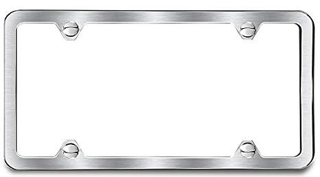Amazon.com: Brushed Finish License Plate Frame 4 Hole: Automotive