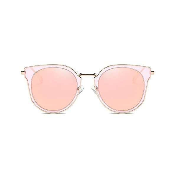SOJOS Fashion Round Polarized Sunglasses for Women UV400 Mirrored Lens SJ1057