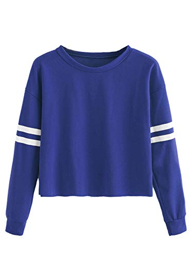 MAKEMECHIC Women's Varsity Striped Sweatshirt Long Sleeve Crop Top Sweatshirt L-Royal Blue S