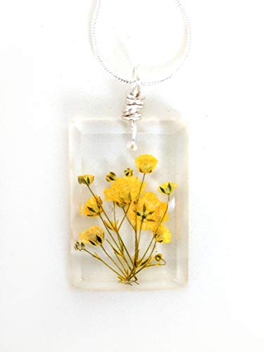 baken Yellow Baby Breath Necklace - Real Flowers Encased in Resin - Pressed Flower Jewelry - Wire Wrapped Pendant - Resin Jewelry - Rectangle