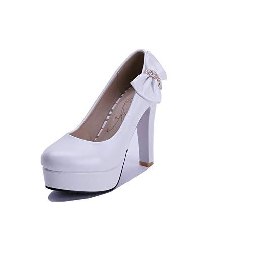 Fall ZHZNVX Blue Women's Shoes Pink White Basic Heels Chunky Blue Heel Polyurethane Pump PU 6TFpBq