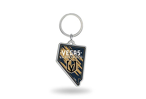 Rico Industries NHL Vegas Golden Knights State Shape Keychain, Black, Size 2