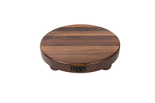 John Boos Round Walnut Edge Grain Cutting Board with Feet, 1