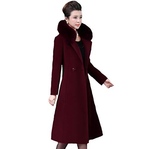 Mei Grande Abrigo Coat Cuello Piel Para Trench Talla De Mujer Y Winered 1pcs rrqx8nBfT