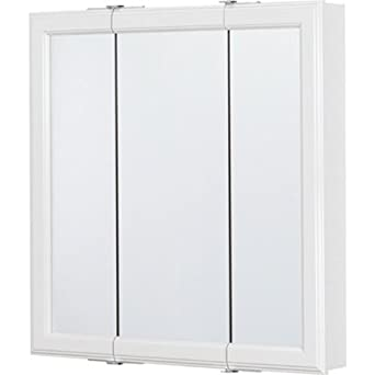 Rsi Home Products CBT24 WH B Wood Triview Medicine Cabinet, 24u0026quot;,