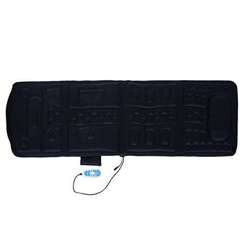 Full Body Massage Mat - Soozier 10-Motor Heated Vibration Massage Plush Mat - Black