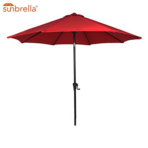 - Patio Tree Outdoor Patio Sunbrella Umbrella 9-Feet Aluminum Market Table Umbrella, Umbrella Cover Included, Canvas Jockey Red