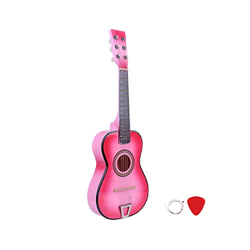 RuiyiF Kids Guitar for Girls Boys 6 Strings Pink Toy, 23 Inch Toddler Toy Acoustic Guitars for Kids Age 3-5 Years Birthday Gift